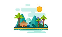 Mooi tropisch landschap, zandstrand met palmen, bungalow, bergen en zon vectorillustratie stock illustratie