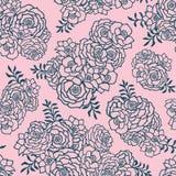 Mooi twee gekleurd roze en groen naadloos patroon met rozen, bladeren Hand Getrokken Contourlijnen vector illustratie