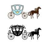 Mooi uitstekend vervoersilhouet met paard Royalty-vrije Stock Afbeeldingen
