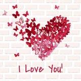 Mooi valentijnskaarthart De achtergrond van de vlinder De kaart van de valentijnskaart Vector illustratie EPS10 royalty-vrije illustratie