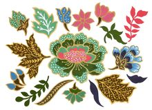 Mooi van van de Batiksarongen van de bloemkunst de Maleise en Indonesische Gouache van de de elementenwaterverf op witte Achtergr royalty-vrije illustratie