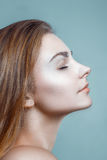 Mooi van het de Huidgezicht van de Vrouwenglamour Schoon het Portretprofiel Royalty-vrije Stock Fotografie
