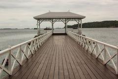 Mooi van pijler van hout in Thailand wordt gemaakt dat Stock Foto