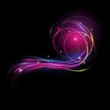 Mooi vector lichteffect Gekleurde lichten met flits Vectorachtergrond met het effect van neon en gloed Stock Foto