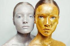 Mooi, verbazend portret van vrouw twee Royalty-vrije Stock Foto