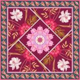 Mooi vierkant lapwerkpatroon met bloemen, mandala en het kader van Paisley in vector De stijl van het land Indische motieven vector illustratie
