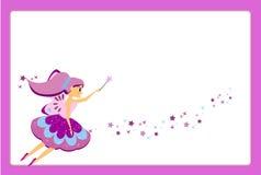 Mooi vliegend feekarakter met purpere vleugels Elfprinses met toverstokje Het purpere malplaatje van het kaderontwerp voor foto's vector illustratie