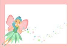 Mooi vliegend feekarakter met roze vleugels stock illustratie