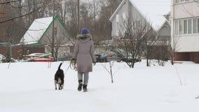 Mooi vrolijk meisje die de hondwijzer in de sneeuw lopen stock video