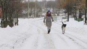Mooi vrolijk meisje die de hondwijzer in de sneeuw lopen stock videobeelden