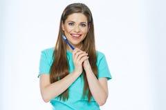 Mooi vrouw geïsoleerd portret met toothy borstel Gezond T-stuk royalty-vrije stock foto's