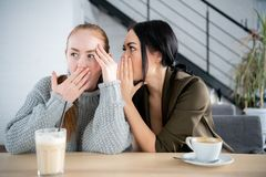 Mooi vrouw het fluisteren geheim aan haar nieuwsgierige vriend Jonge vrouw het vertellen roddel aan verbaasde vrouwelijke vriend  stock fotografie
