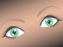 Mooi vrouwelijk breed open groen oog Royalty-vrije Stock Foto's