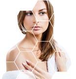 Mooi vrouwelijk gezicht in honingraten Kuuroord en gezichts het opheffen concept stock afbeelding