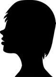 Mooi vrouwelijk gezichtssilhouet in profiel Royalty-vrije Stock Foto's