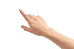 Mooi vrouwelijk hand pionting gebaar Geïsoleerdj op witte achtergrond royalty-vrije stock afbeeldingen