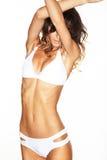 Mooi vrouwelijk lichaam Sexy jonge vrouw in zwarte kousen Stock Foto
