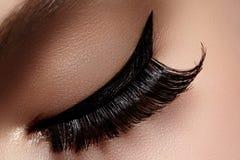Mooi vrouwelijk oog met extreme lange wimpers, zwarte voeringsmake-up De perfecte samenstelling, snakt zwepen De ogen van de clos Royalty-vrije Stock Fotografie