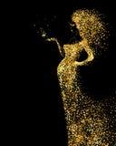 Mooi Vrouwen abstract die cijfer door gouden kleurendeeltjes wordt gevormd op de zwarte achtergrond Heldere banner met mooi royalty-vrije illustratie
