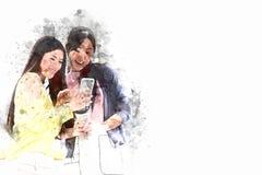 Mooi vrouwen gelukkige en het spelen mobiel telefoonapparaat royalty-vrije stock fotografie