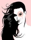 Mooi vrouwengezicht stock illustratie