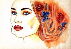Mooi vrouwengezicht Stock Afbeeldingen