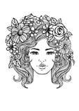 Mooi vrouwengezicht en bloemenpatroon Vectorkrabbelbloemen Rebecca 36 vector illustratie