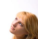 Mooi vrouwengezicht met blond haar stock afbeeldingen