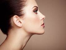 Mooi vrouwengezicht Perfecte Make-up royalty-vrije stock foto's