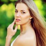 Mooi vrouwengezicht - sluit omhoog royalty-vrije stock afbeeldingen