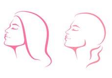 Mooi vrouwengezicht van profielmening stock illustratie