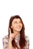 Mooi vrouwenonderzoek naar oplossingen voor problemen Het concept van Stock Foto's