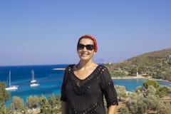 Mooi vrouwenportret in Datça, Turkije royalty-vrije stock fotografie