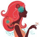 Mooi vrouwensilhouet stock illustratie