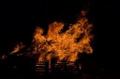 Mooi vuur in de donkere winter Royalty-vrije Stock Foto's