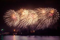 Mooi vuurwerk tijdens de viering van de Onafhankelijkheidsdag Stock Fotografie