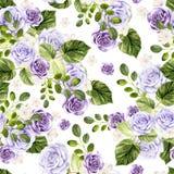 Mooi waterverf helder patroon met rozenbloemen royalty-vrije illustratie