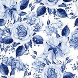 Mooi waterverf naadloos patroon met bloemen van roze en pioen, bes vector illustratie