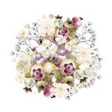 Mooi waterverfboeket met hydrangea hortensia, wildflowers en bessen Saskatoon Stock Afbeelding