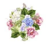 Mooi waterverfboeket met pioen en hudrangeabloemen en rozen royalty-vrije illustratie