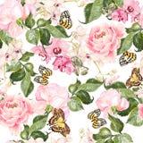 Mooi waterverfpatroon met bloemenorchideeën, pioen en rozen royalty-vrije illustratie