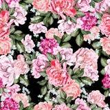 Mooi waterverfpatroon met pioenbloemen royalty-vrije illustratie