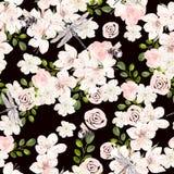 Mooi waterverfpatroon met roze de lentebloemen en libel, bij vector illustratie