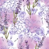 Mooi waterverfpatroon met roze, lavendel, hudrangeabloemen stock illustratie