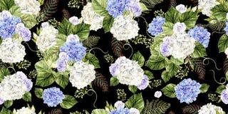 Mooi waterverfpatroon met rozen en hudrangeabloemen stock afbeelding