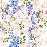 Mooi waterverfpatroon met wisteria en de lentebloemen royalty-vrije illustratie