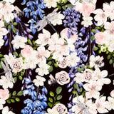 Mooi waterverfpatroon met wisteria en de lentebloemen vector illustratie