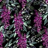 Mooi waterverfpatroon met wisteria en insect vector illustratie