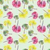Mooi waterverfpatroon van bladeren Geschilderd met de hand gemaakt mooie naadloze textuurafdruk als achtergrond Stock Foto's