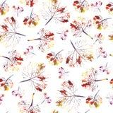 Mooi waterverfpatroon van bladeren Geschilderd met de hand gemaakt mooie naadloze textuurafdruk als achtergrond Royalty-vrije Stock Afbeeldingen